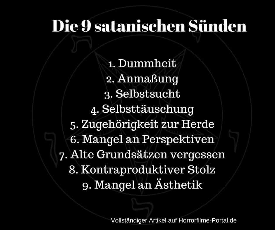 die neun satanischen sünden