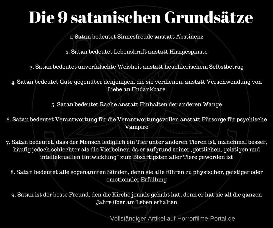 Die 9 satanischen Grundsätze